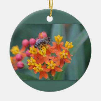 Spring/Easter: Bee on Lantana, Male Bluebird Ceramic Ornament