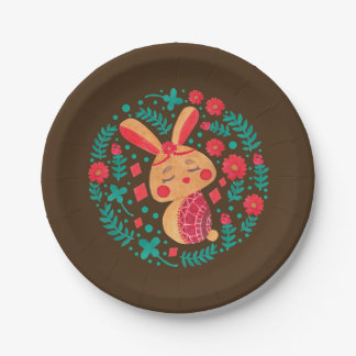 Spring Easter Bunny Pattern on Paper Plate Illustration by Haidi Shabrina