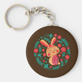 Spring Easter Bunny Pattern on Keychain Illustration by Haidi Shabrina
