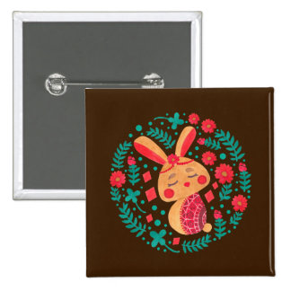 Spring Easter Bunny 2 Inch Square Button