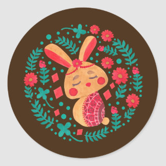 Spring Easter Bunny Pattern on Round Sticker Illustration by Haidi Shabrina