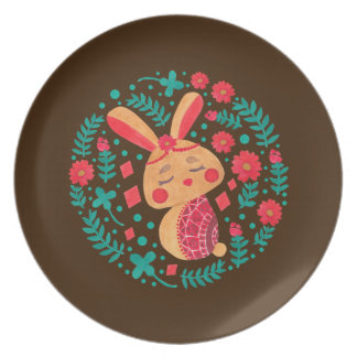 Spring Easter Bunny Pattern on Plate Illustration by Haidi Shabrina