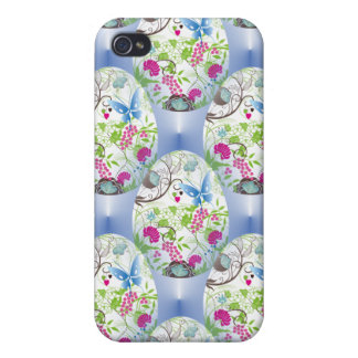 Spring Easter Egg Butterfly Flowers Vines Design Cover For iPhone 4