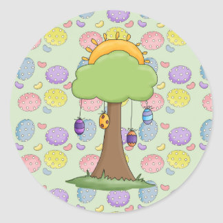 spring easter egg tree classic round sticker