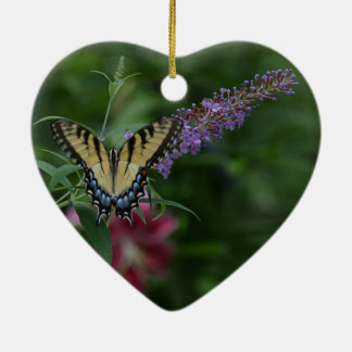 Spring/Easter: sparrow, swallowtail butterfly Ceramic Ornament