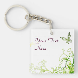 Spring Emerald Green Floral Double-Sided Square Acrylic Keychain
