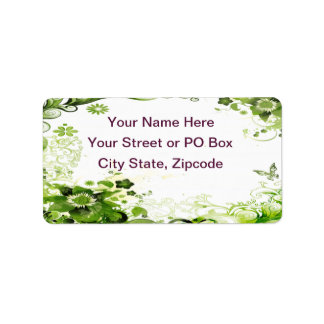 Spring Emerald Green Floral Label