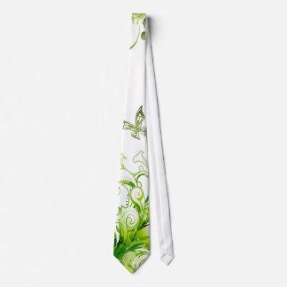 Spring Emerald Green Floral Neck Tie