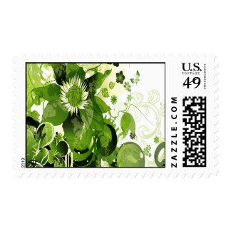 Spring Emerald Green Floral Stamp