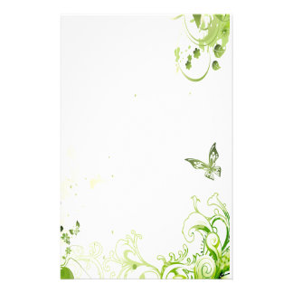 Spring Emerald Green Floral Stationery