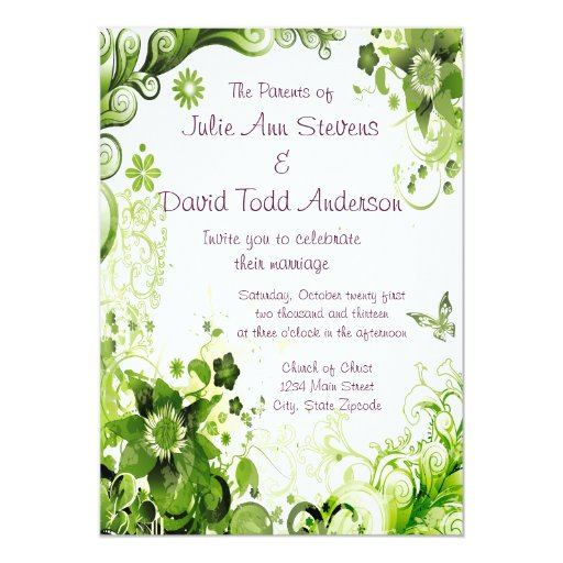Spring Emerald Green Floral Wedding Card