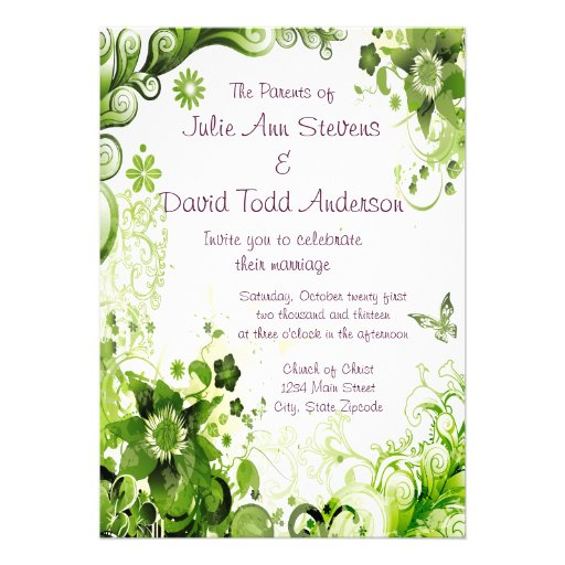 Spring Emerald Green Floral Wedding 5x7 Paper Invitation ...