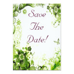 Spring Emerald Green Floral Wedding Save The Date Card