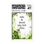 Spring Emerald Green Floral Wedding Save The Date Postage