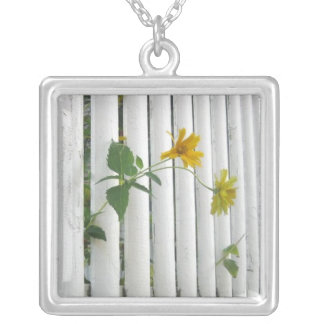 Spring emerges square pendant necklace