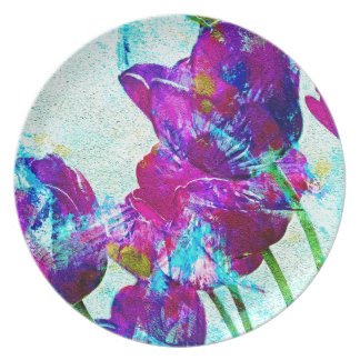 Spring Energies 4 Tulip Abstract Melamine Plate