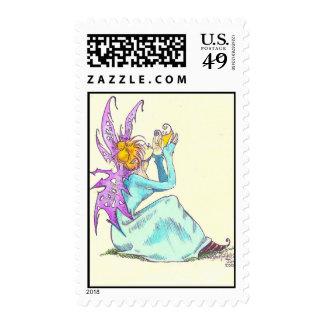 spring faerie postage stamp