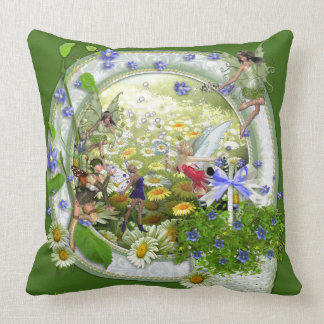 Spring fairies throw pillow