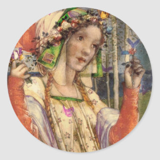 Spring Fairyland Classic Round Sticker