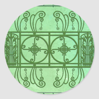 SPRING FANCY ART DECO: SHADES of GREEN Classic Round Sticker