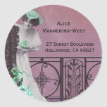 Spring Fancy in Rose and Green - Address Labels Classic Round Sticker
