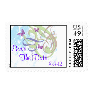 Spring Fantasy Swirls & Butterflies Save The Date Postage