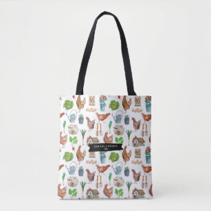 Spring Farm Fresh Rooster Pattern | Tote bag