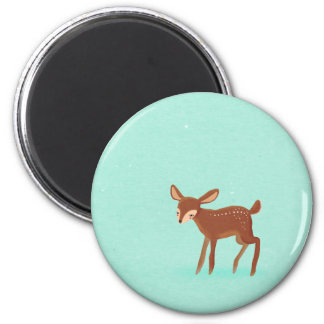 spring fawn baby deer on blue 2 inch round magnet