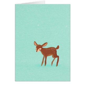 spring fawn baby deer on blue card