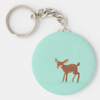 spring fawn baby deer on blue keychain