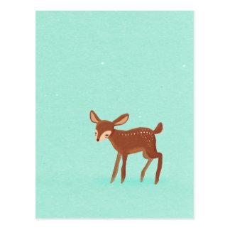 spring fawn baby deer on blue postcard