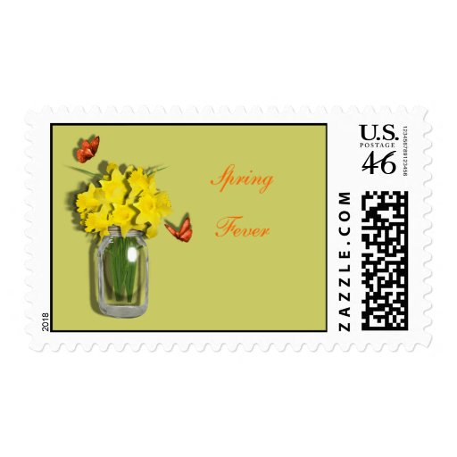 Spring Fever Mason Vase of Daffodils Butterflies Stamp