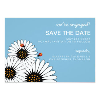 Spring Fling Daisies SAVE THE DATE-Blue 5x7 Paper Invitation Card