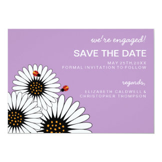 Spring Fling Daisies SAVE THE DATE-Violet 5x7 Paper Invitation Card