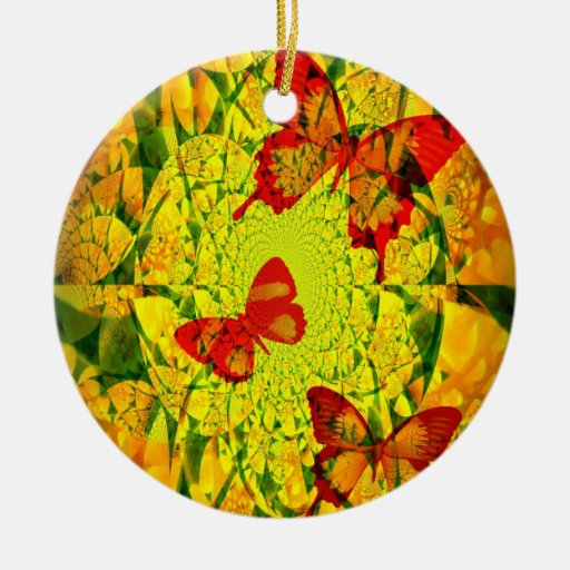 Spring Fling Double-Sided Ceramic Round Christmas Ornament