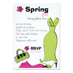 Spring Fling Fashion Illustration Invitation