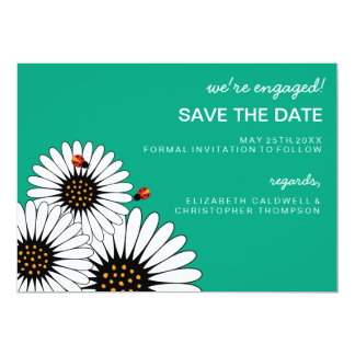 Spring Fling Gerbera Daisies SAVE THE DATE-green 5x7 Paper Invitation Card
