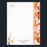 """Spring Floral Bird Home Interior Business Letterhead<br><div class=""""desc"""">Cute cherry blossom flowers and little yellow bird illustrated on custom Business 