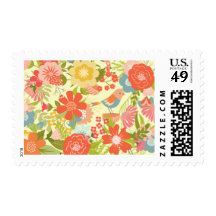 Spring floral blooms with bird postage stamps
