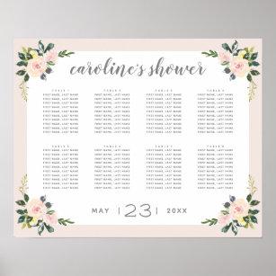 spring floral blush bridal shower seating chart
