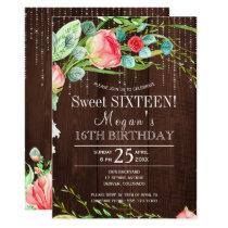 Spring floral blush roses barn wood sweet sixteen card