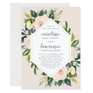 Spring Floral Blush   Wedding Invitation