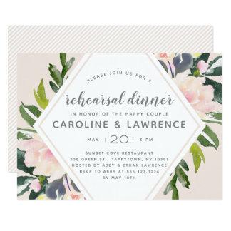 Spring Floral Blush   Wedding Rehearsal Dinner Card