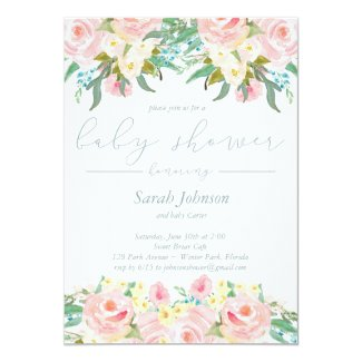 Spring Floral Boy Baby Shower Invitation