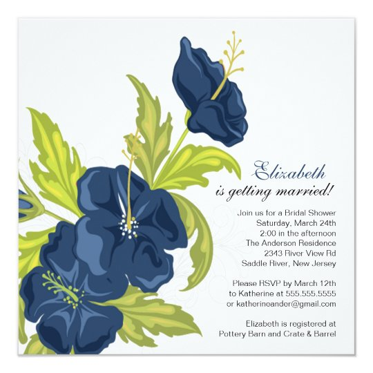 Spring Floral Bridal Shower Invitation Navy Blue Zazzle