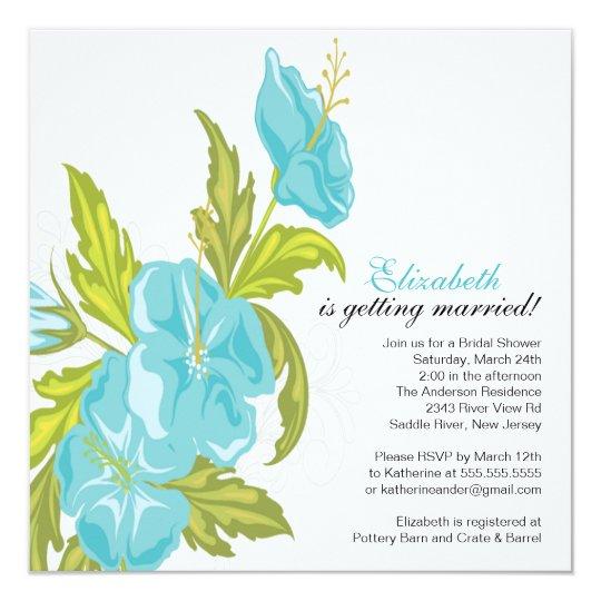 Spring Floral Bridal Shower Invitation Turquoise