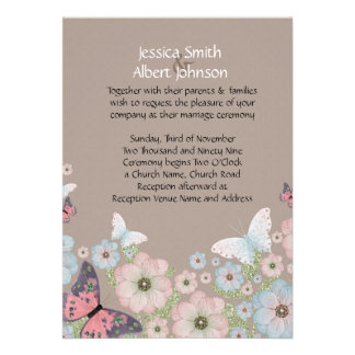 Spring Floral Butterfly Garden Wedding Invite