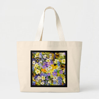Spring Floral Color Burst Collage Tote Bag