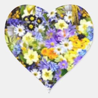 Spring Floral Color Burst Collage Heart Sticker