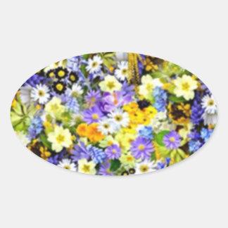 Spring Floral Color Burst Collage Oval Sticker